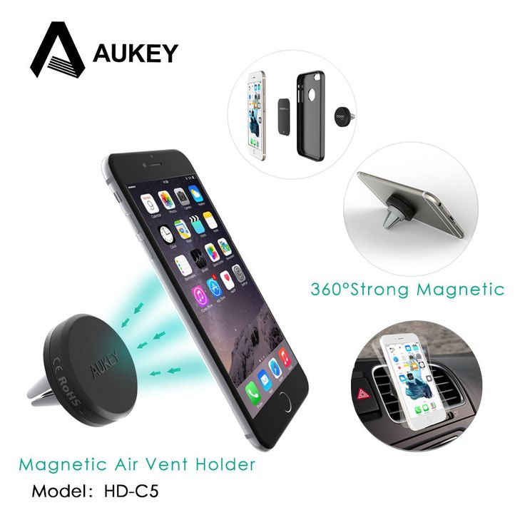 AUKEY Car Phone Holder for Iphone 7 6 Sumsung Magnetic Air Vent Mount Car Holder 360 Degree Soporte Movil Mobile Car Phone Stand