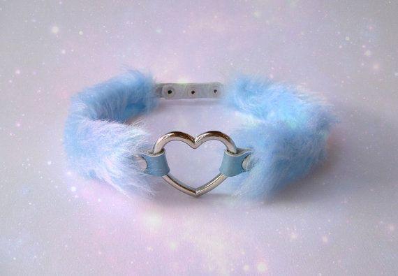 Fur Choker Pastel Goth Fluffy Choker Collar Heart by Kerenika