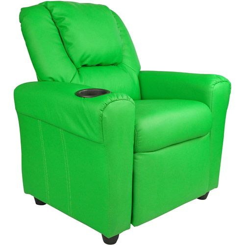 Flash Furniture Kids' Vinyl Recliner with Headrest, Kids? Recliners with Cup Holders, Children?s Recliner Chair, Toddler Recliner