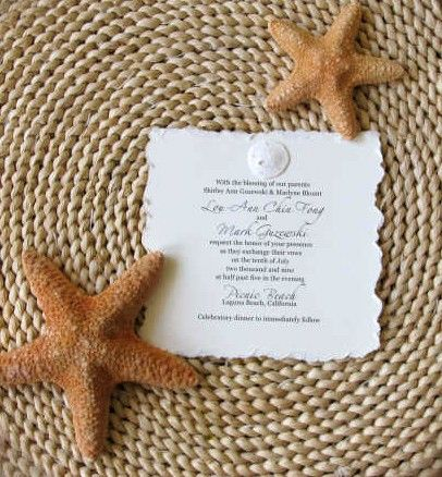 sand dollar invitation with real dried sand dollars!