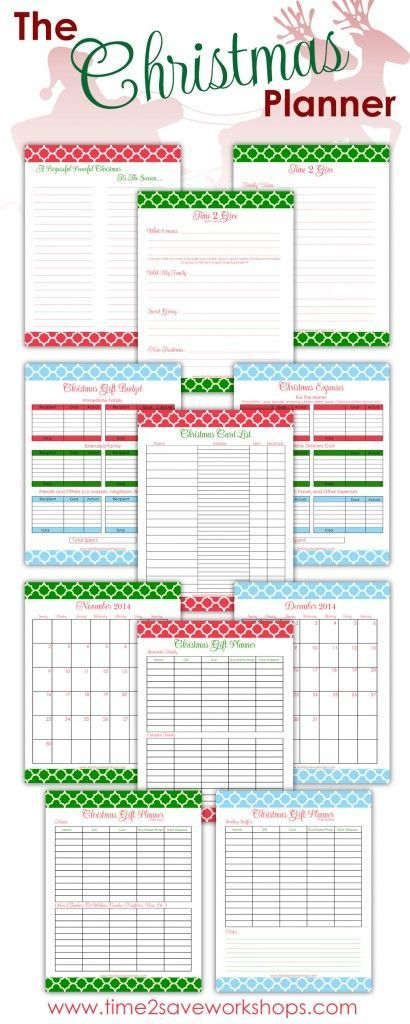 Free Christmas Planners by Time 2 Save Workshops                                                                                                                                                     More
