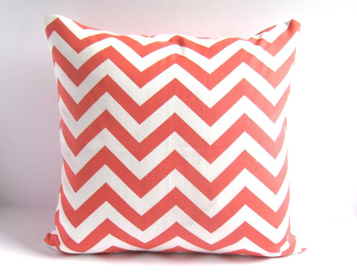 one 18x18 coral pillow cover decorative throw pillow cover pillow covers coral chevron