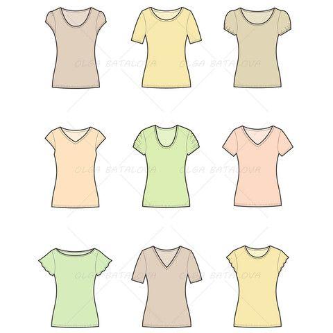 Women's T-Shirt Fashion Flat Template