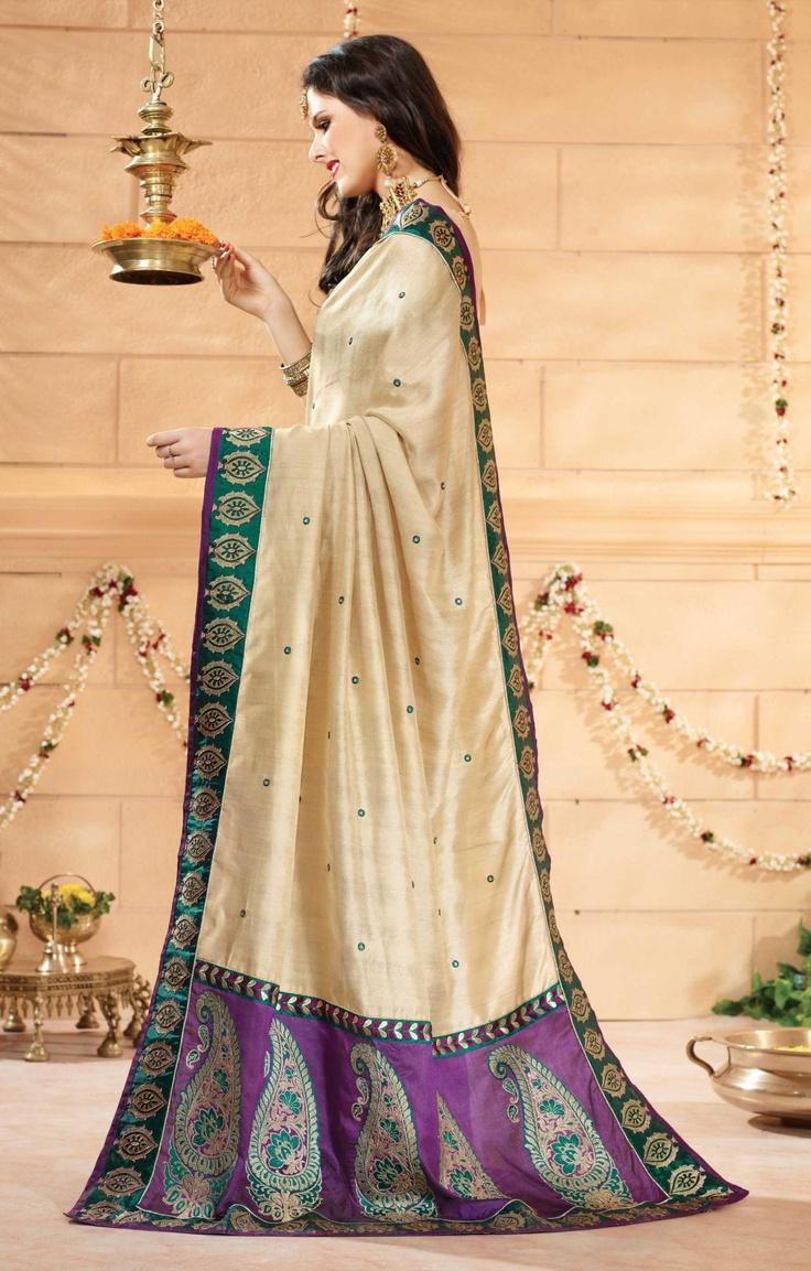 Brown Banarasi Silk Saree 19357 With Unstitched Blouse
