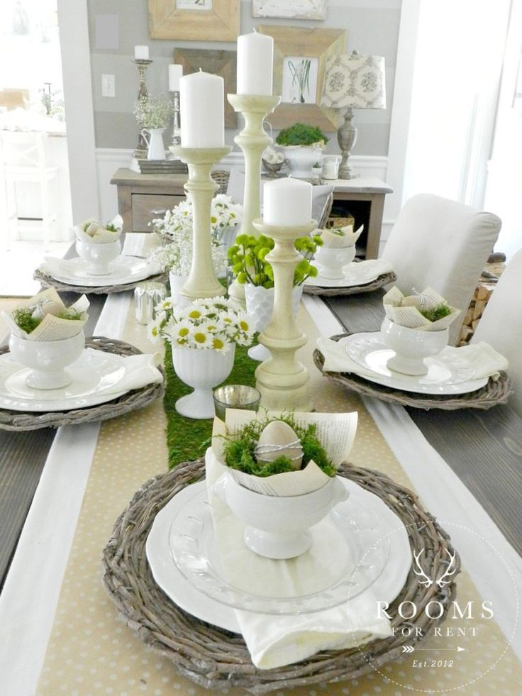 Table Setting Ideas - Neutral Farmhouse Style Tablescape Ideas | Table Scape Ideas | Table Décor | Table Setting For Lunch | Table Setting For Breakfast | Formal Table Setting | Informal Table Setting | Dinner Parties | Centerpiece | Everyday Table Setting | Candles | Plates | Flower Arrangements for Table | DIY | Holidays | Easter