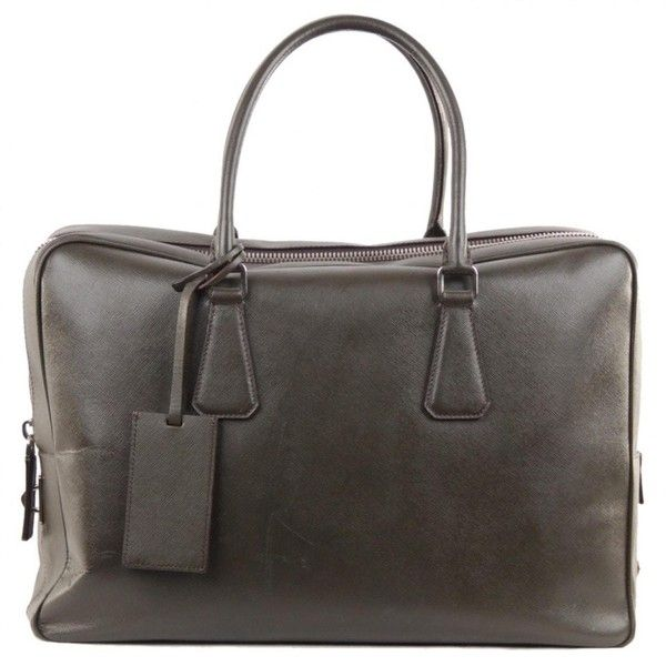 Pre-owned Prada Leather Small Bag (1,109,595 KRW) ❤ liked on Polyvore featuring men's fashion, men's bags, green, mens military messenger bag, prada mens bags and mens leather bag