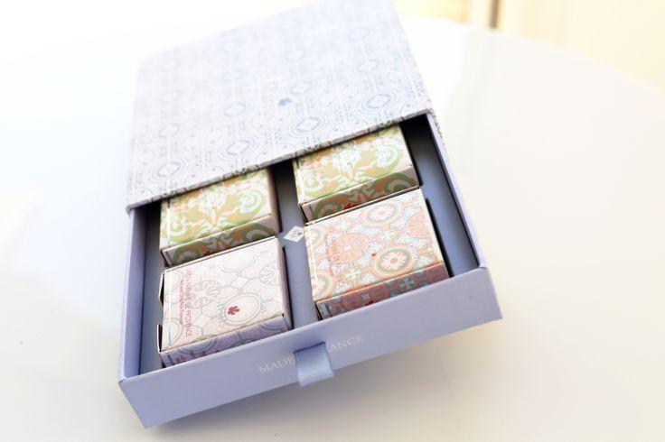 Coffret découverte 4 savons naturels. Parfum de Grasse  www.roseetmarius.com