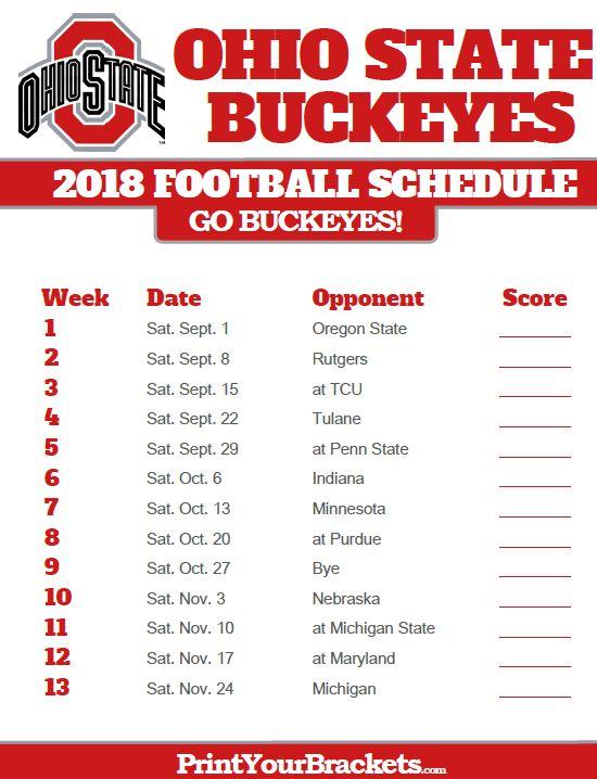 2018 Printable Ohio State Buckeyes Football Schedule