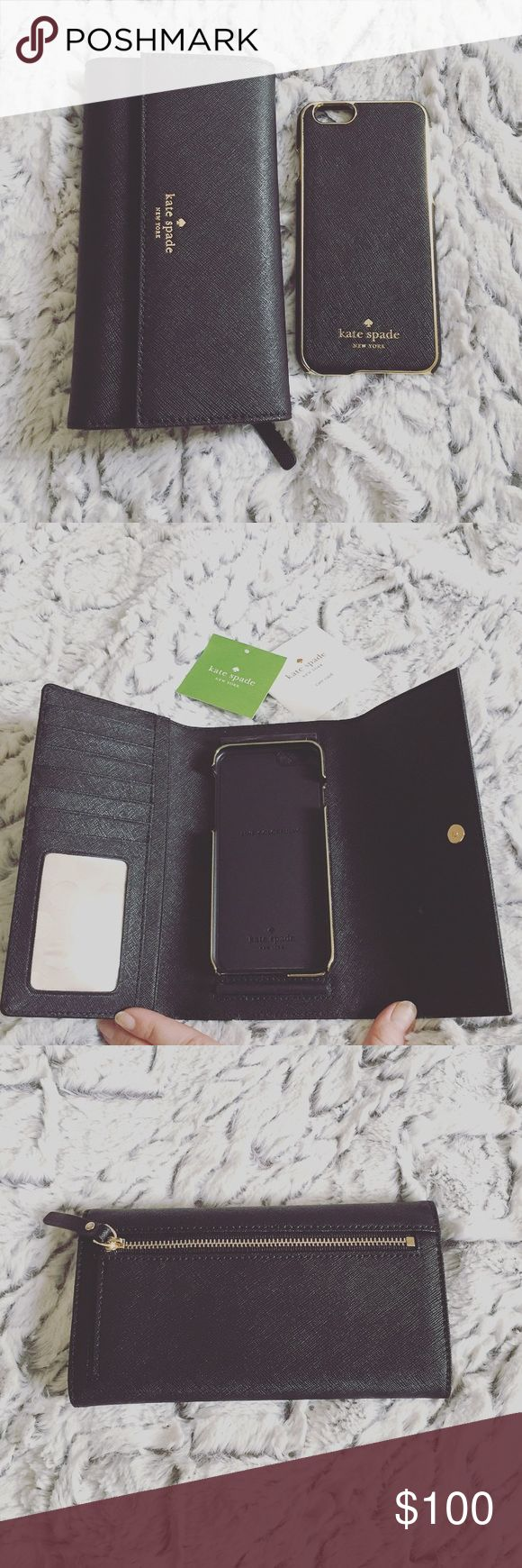 """Kate Spade Case & Wallet Saffiano leather. Magnetic snap flap closure. Exterior zip pocket. 6 card slots & 2 currency compartments. Signature polka dot lining. Includes matching iPhone 6/6s case that attaches magnetically to wallet. 7"""" W x 4"""" H x 1""""D. Perfect condition! No trades, price is FIRM. kate spade Bags Wallets"""