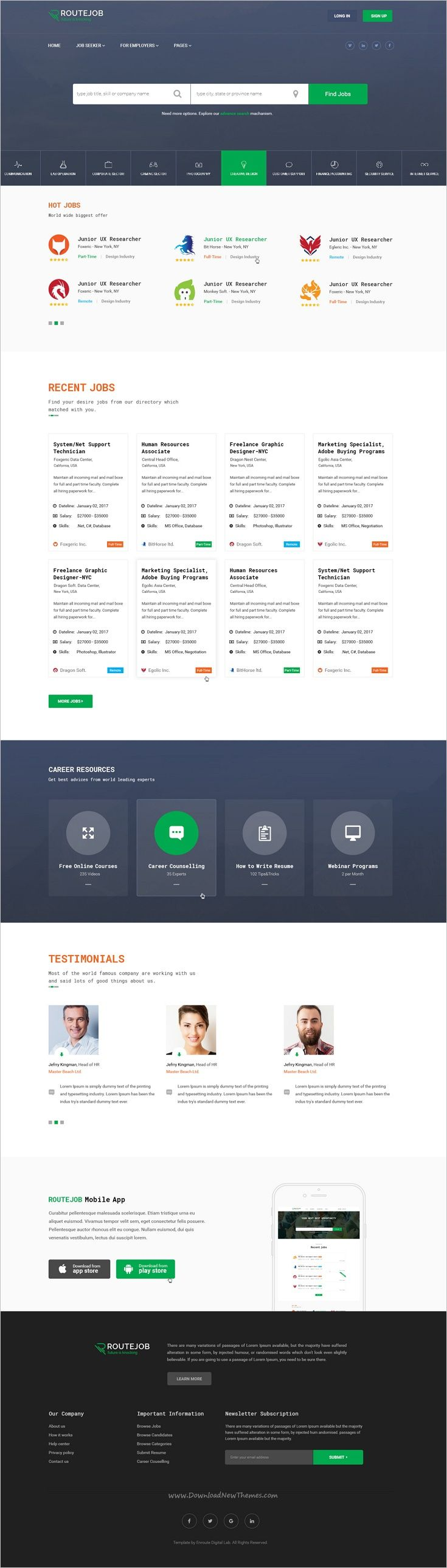 ROUTEJOB is a wonderful #PSD template for #job board or job #portal websites download now➩ https://themeforest.net/item/routejob-job-board-psd-template/19213827?ref=Datasata