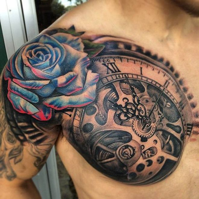 Clock & Blue Rose Chest Tattoo | Best tattoo ideas & designs