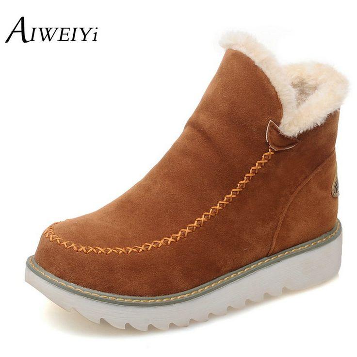 Big Size 34-43 Vrouwen Enkellaarsjes Flock Ronde neus Gladiator Schoenen vrouwen Bont Warme Herfst Winter Schoenen voor Vrouwen Snowboots Botas