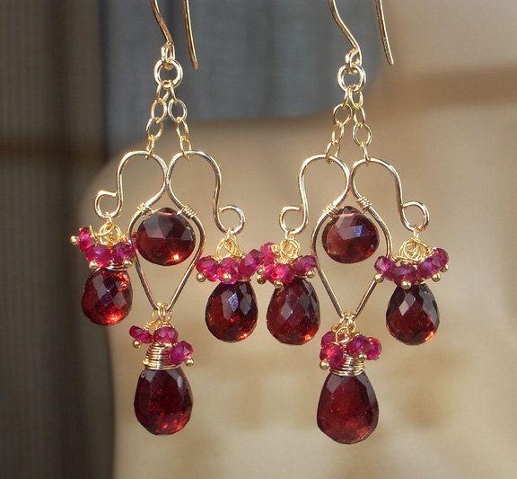 Red Garnet Gold Filled Gemstone Chandelier Earrings Wire Wrapped Dangle Handmade Sapphire