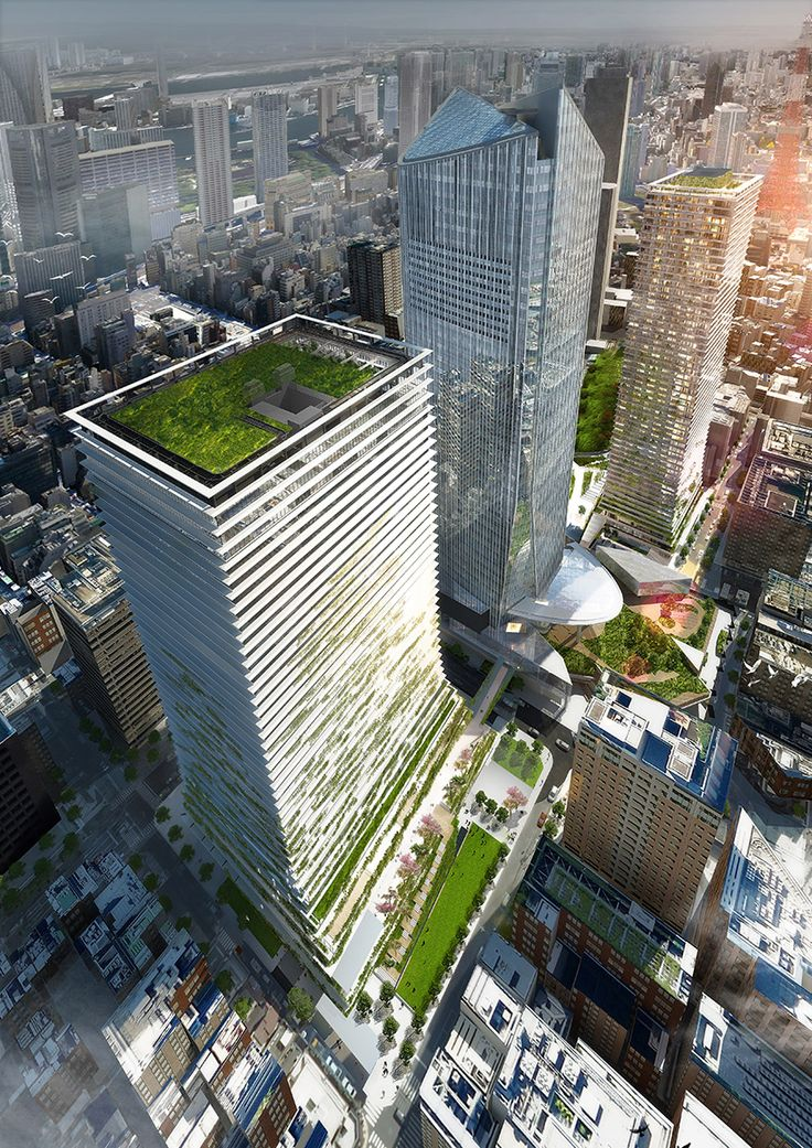 two towers close to Toranomon Hills Mori Tower in Tokyo by ingenhoven architects