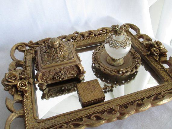 HOLIDAY SALE! Vintage Five Piece Gold Boudoir Vanity Set Roses Mirror ...