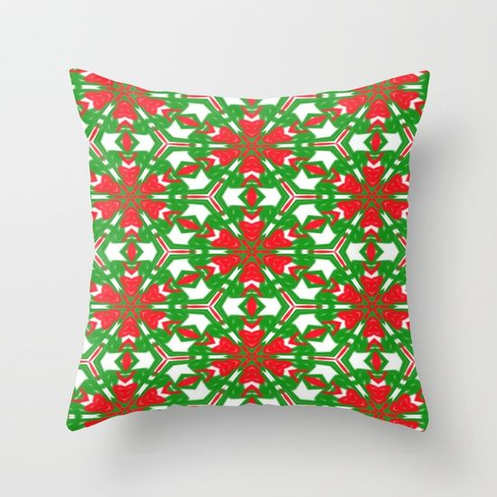 Red, Green and White Kaleidoscope 3373 throw Pillow by Khoncepts.  Sold with or without faux down pillow insert.