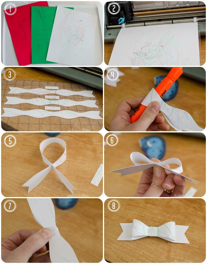 Baby-Made Bows - use your little one's scribbles to make gift bows for wrapping presents!