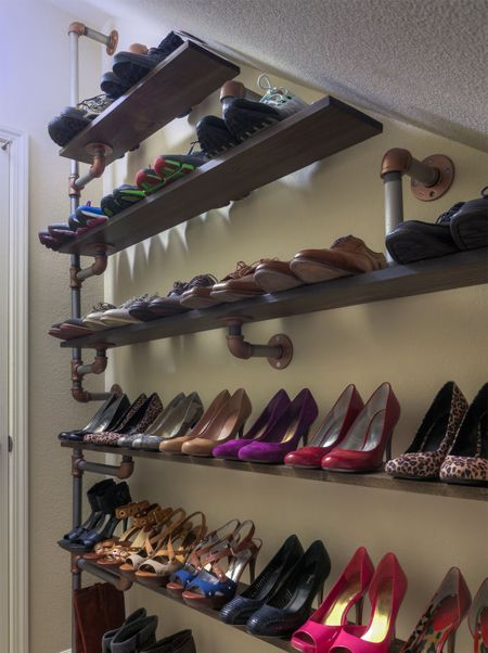 Create shelving, any size you need it, with plumbers pipe for custom organizing.