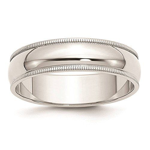 925 Sterling Silver 6mm Half Round Polished Milgrain Wedding Ring Band Available in Sizes 4 - 13 (Full