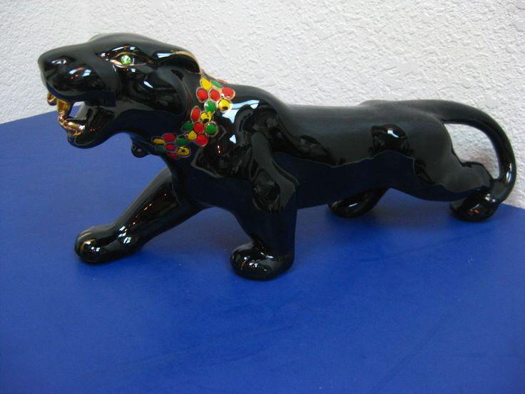 Vtg 1950s Mid Century Modern Sleek Black Panther Ceramic