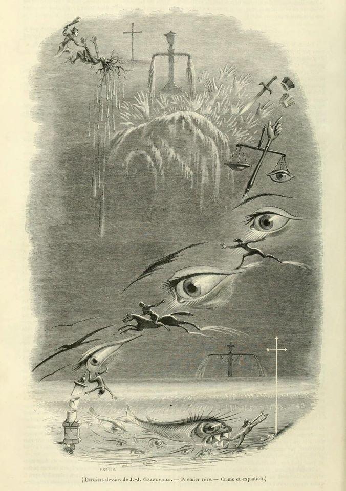 J.-J. Grandville, Premier rêve. Crime et expiation, parue dans le Magasin pittoresque, n° 27, 1847. Source : http://www.archive.org/stream/magasinpittoresq15pari#page/212/mode/1up