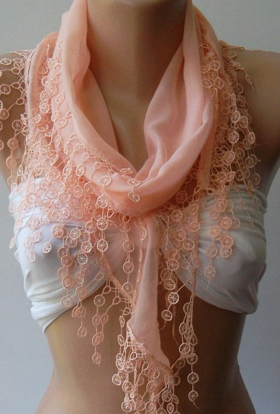 Salmon Pink  Elegance Shawl / Scarf with Lace Edge by womann,: Pink Scarf, Lace Edge, Lace Scarf, Pink Lace, Elegance Shawl Scarf, Style, Cute Scarfs, Salmon Pink