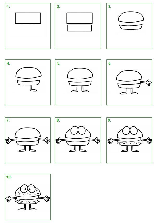 Hamburger. Leer stap voor stap hoe je zelf een hamburger kunt tekenen. #tekenen #tekening #knutselen #hamburger #kleuren #schoolwiz