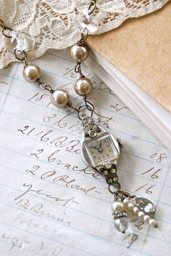 timeless, vintage rhinestone watch necklace, tied up memories