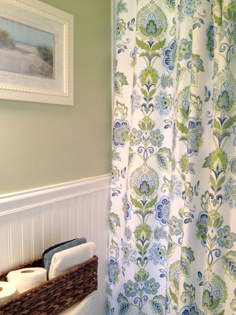 green and blue decorating - via Liberty Cottage Home. Love the wall color.