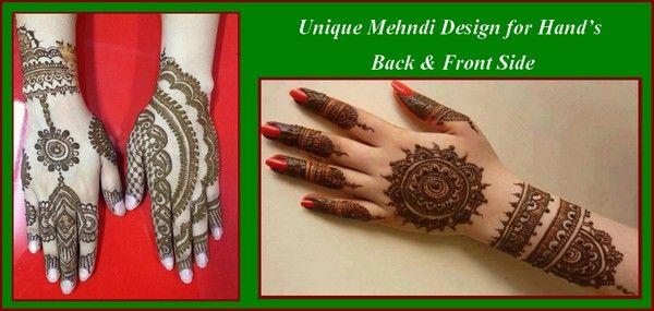 Unique Mehndi Design for Hand's Back & Front Side