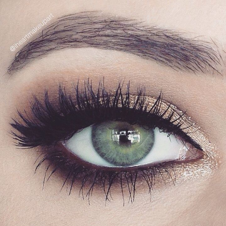 Gold and brown smokey eye. Perfect day to night look. Shop our eye shadows here…
