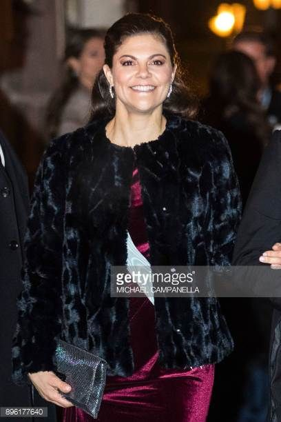 Crown Princess Victoria of Sweden attends a formal gathering at the Swedish Academy on December 20 2017 in Stockholm Sweden