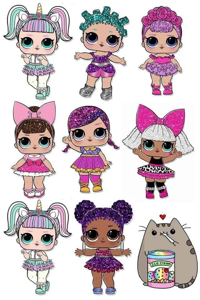 Сахарные картинки на торт куклы лол