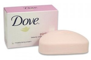 Dove bar soap, ph balanced so you can use on your face, too. Pink!  I love Dove, it has to be Pink.