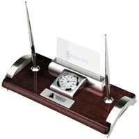 Executive desk set w/2 pens, clock and bus. card holder