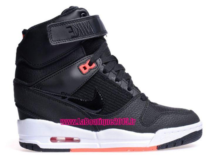 Nike Wmns Air Revolution Sky Hi 2015 - Chaussure Montante Nike Pas Cher Pour Femme Noir/Noir/Infrarouge Rouge 599410-016
