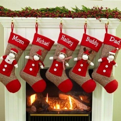 chaussettes de Noël pour la chaminée