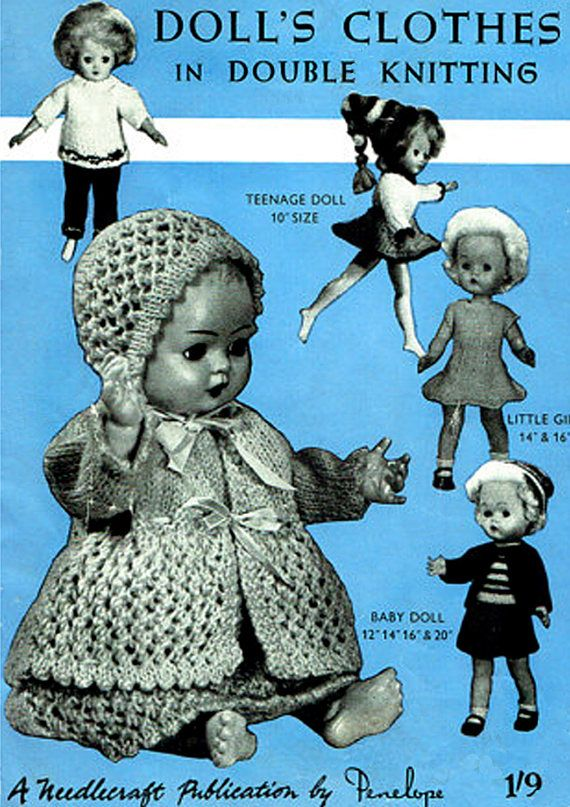 PDF Vintage DOLL CLOTHES Knitting Pattern Booklet Penelope