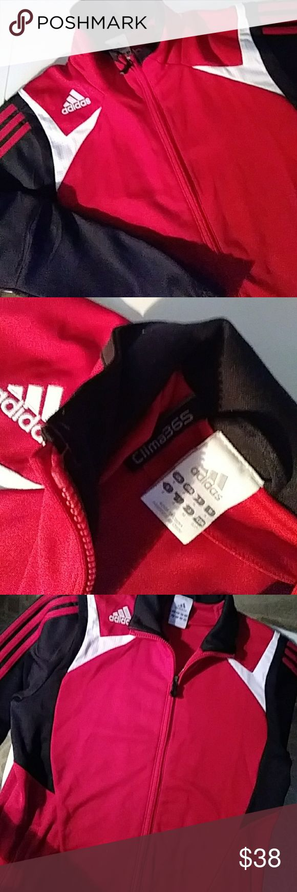 "🆕LIST💯ADIDAS zip-up training jacket Red, black and white. Pre-loved but it EUC..excellent used condition🎅  Perfect for your athlete or for the trend seeker. Timeless and forever in style. Adidas quality you expect. Size small. Zip close pockets measures approx. 20"" pit to pit 17"" under armpit to bottom adidas Shirts Sweatshirts & Hoodies"
