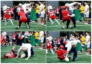 A combination of four images show Boris Johnson tackle and take down the schoolboy while playing rugby