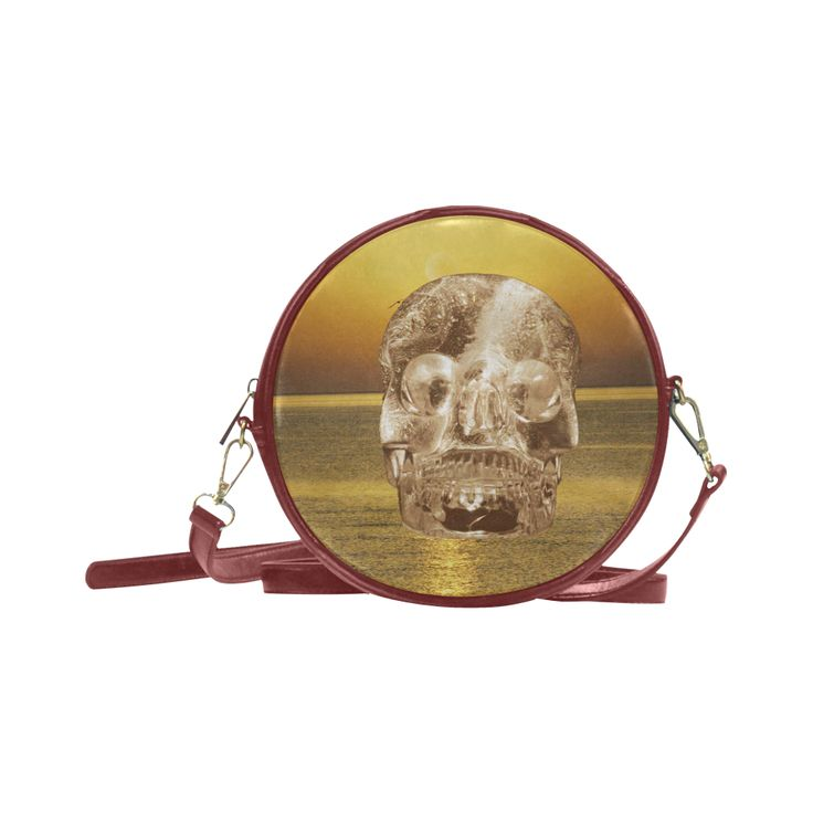 Crystal Skull Gold Round Messenger Bag (Model 1647)