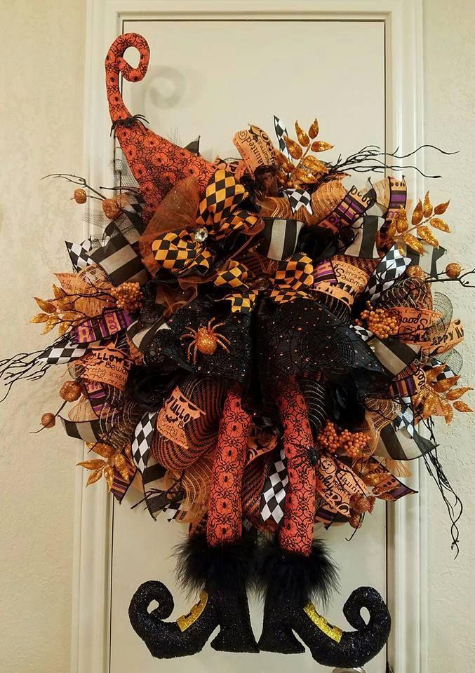 Halloween Witch Wreath, Halloween Wreath, Witch Wreath, Halloween Decor, Witch Decor, Halloween Door Wreath,Halloween,Witch,Deco Mesh Wreath by SouthTXCreations on Etsy