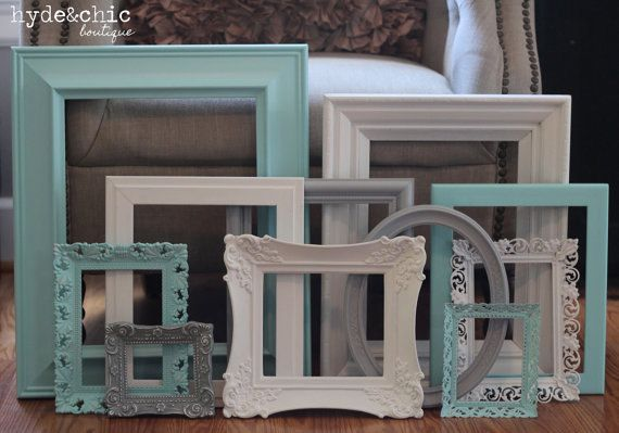 Shabby Chic Decor / Aqua Grey and White by hydeandchicboutique