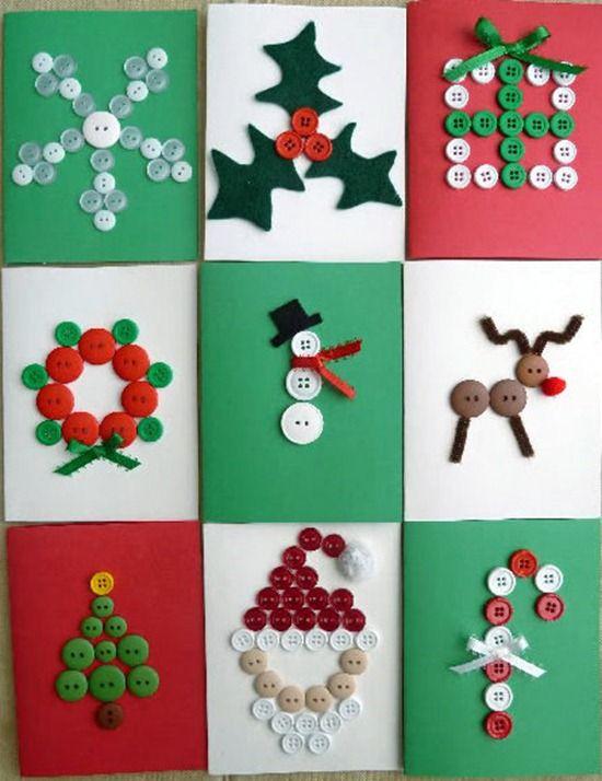 tarjetas de navidad con botones: http://www.manualidadesinfantiles.org/postales-de-navidad-faciles/
