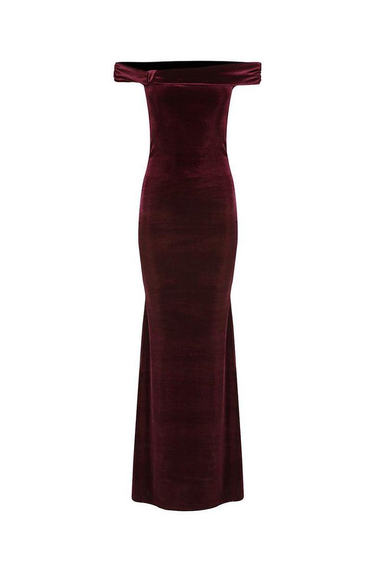 Claret Wine Red Velour Bardot Maxi Dress