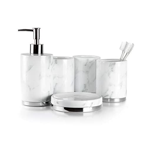 Willow Amp Ivory Bathroom Accessories Set 5 Piece Ceramic Bath Set Toothbrush Holder Soap Dispenser Soap Dish 2 Tumblers Marble Collection In 2020 Bathroom Accessories Sets Soap Dispenser Bathroom Soap Dispenser