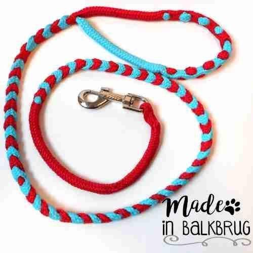 Hondenriem 125 cm rood/blauw