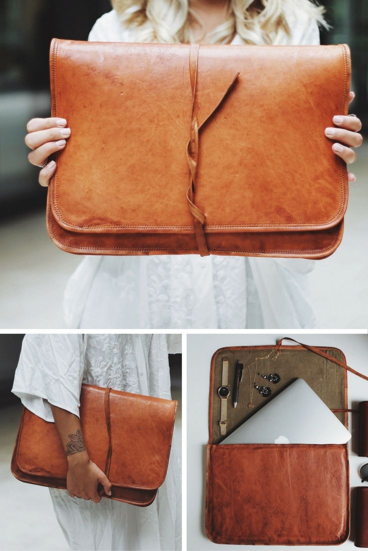 """You like to store your electronic equipment in a unique and individual way? With our """"Chris"""" bag made of fine goatskin, you not only protect your laptop or tablet, but also lead the stylish stakes at the same time. In a trendy vintage-style, your notebook of up to 15 inches in diameter or A4 documents can be safely transported with you wherever you need to go. Gusti leather - laptop case"""