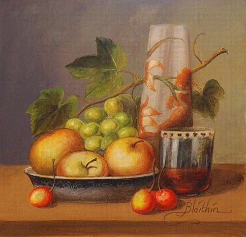 "Blaithin, ""Still Life with vase & fruit"" #art #chalkpastel #StillLife #fruit #pastel #chalk #DukeStreetGallery"