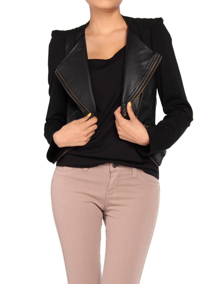 Diagonal Zipper Leather Jacket